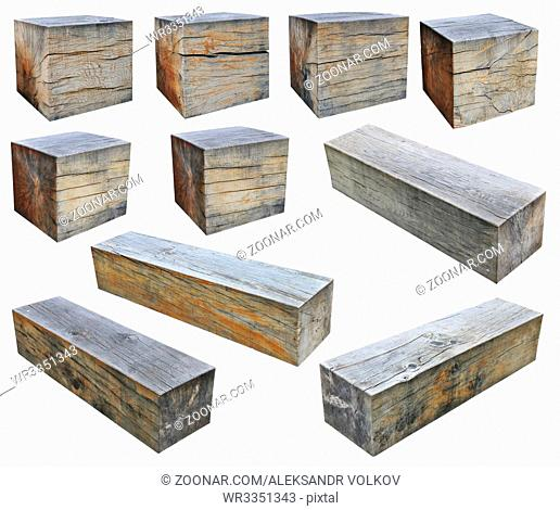 The big cubes and rectangular beams is cut out from a trunks of an old oak. Isolated on white set collage