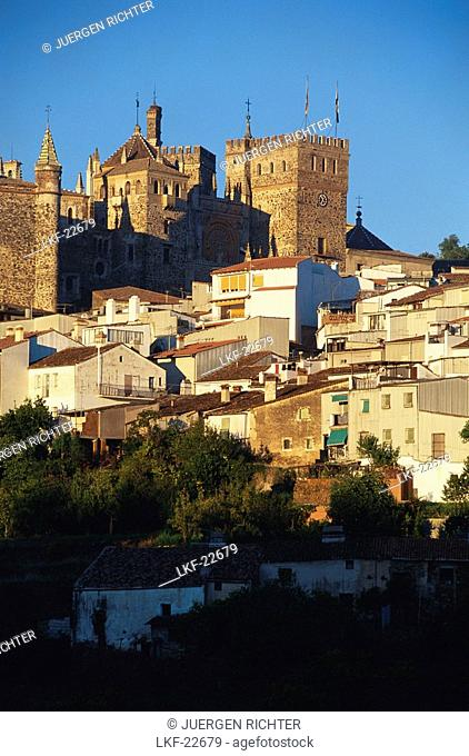 Royal Monastery of Santa Maria de Guadalupe above the village, Guadalupe, Province of Cßceres, Extremadura, Spain