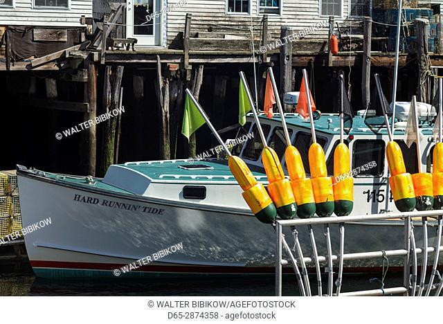 USA, Maine, Portland, fishing buoys