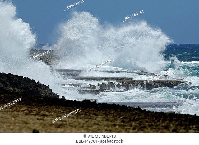 Rough breakers on the North-East coast of Curacao between StJorisbaai and Koraal Tabak landhouse
