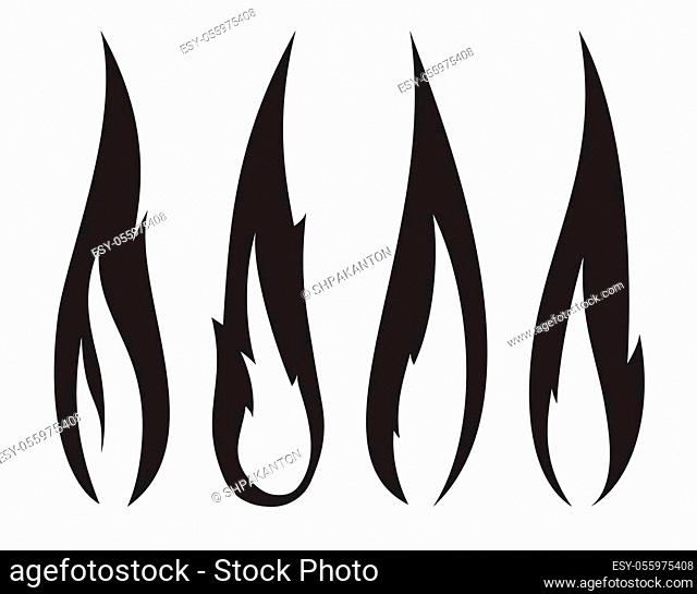 Set of four unusual thin black realistic stylish fire flames
