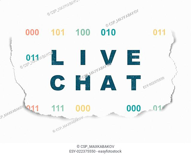 Web development concept: Live Chat on Torn Paper background