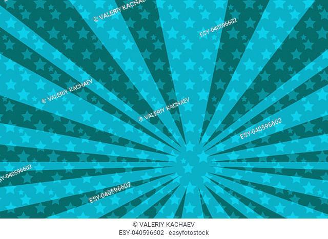 pop art blue star background. Pop art retro vector vintage kitsch illustration drawing