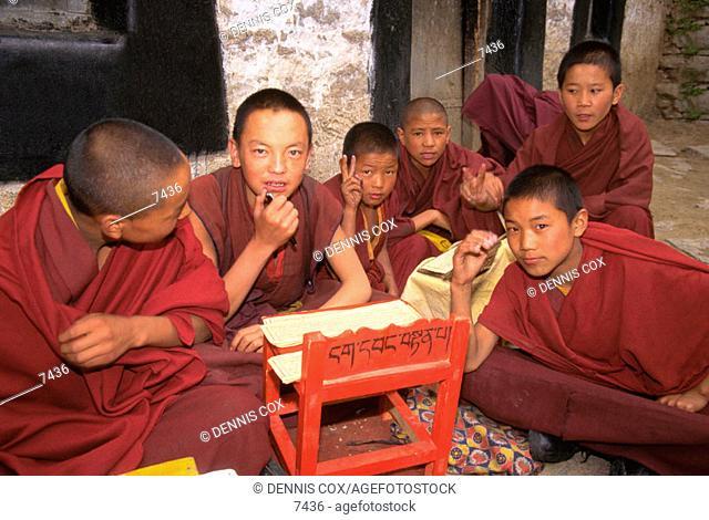Novice monks at Drepung Monastery. Lhasa. Tibet