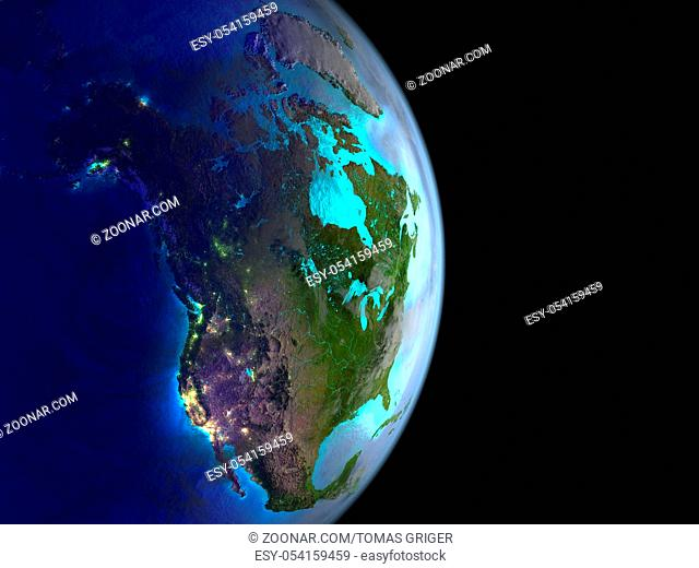 North America on planet Earth from space with city lights. Satellite view. 3D illustration. Elements of this image furnished by NASA