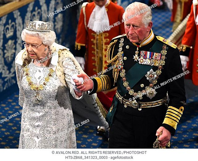 London, United Kingdom. State Opening of Parliament. Royal Gallery.  Her Majesty Queen Elizabeth II, accompanied by Prince Charles