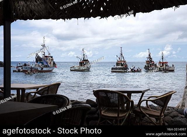 View of boats from bar on the beach, Cidade Velha, Cape Verde