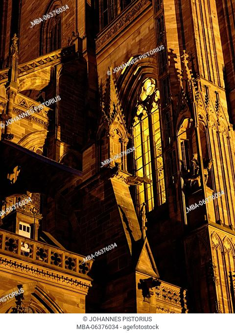 Europe, France, Grand Est, Strasbourg, blue hour in Strasbourg Cathedral / Cathedral of Our Lady of Strasbourg