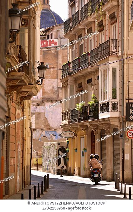 Old street in Valencia, Spain