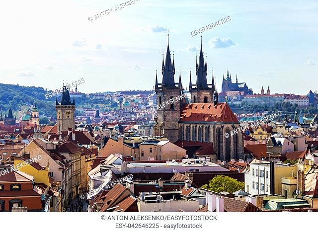 Church of Our Lady before Tyn and the Old City Hall aerial view, Prague