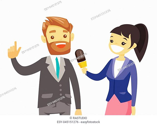Young caucasian white female reporter with a microphone interviewing a man. Journalist making an interview with businessman