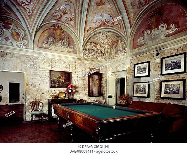 Billiard room at Mina della Scala Castle, Casteldidone. Italy, 16th century