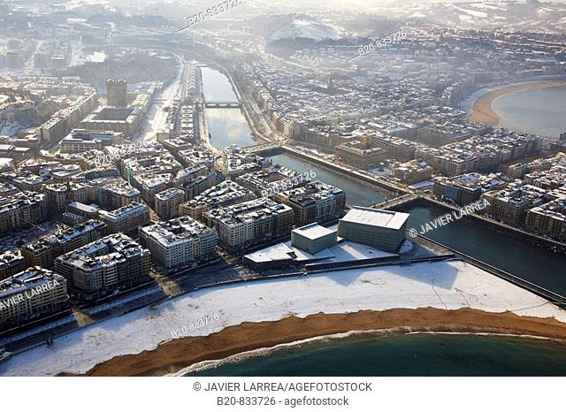 Zurriola beach and River Urumea, snow, Donostia (aka San Sebastian). Guipuzcoa, Basque Country, Spain
