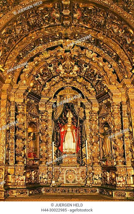 Portugal Algarve Faro old town center kathedral Largo da Se interieur , Talha Dourada Altar