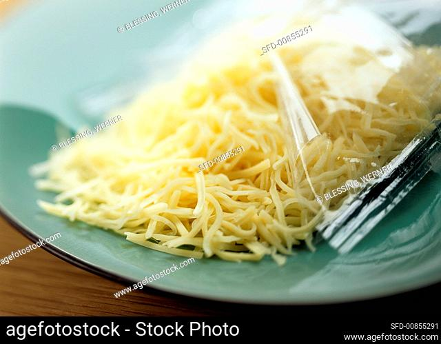 Grated cheese in clingfilm