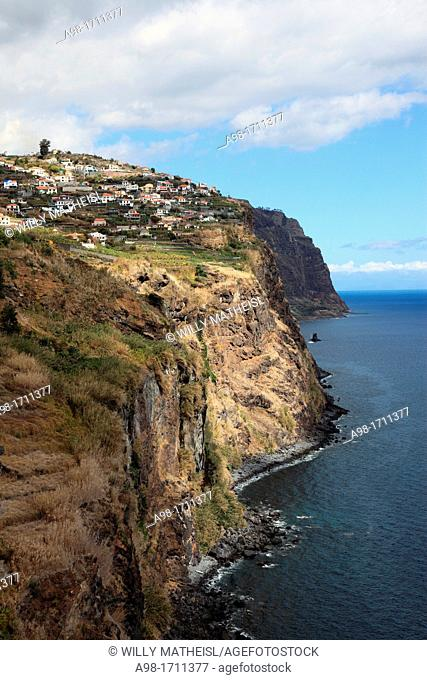 Coastal view at an lookout point high above the Town Ribeira Brava looking East, Madeira, Portugal