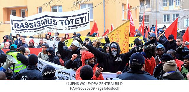 People demonstrate to commemorate the eighth day of death of the asylum seeker Oury Jalloh in Dessau-Rosslau, Germany, 07 January 2013