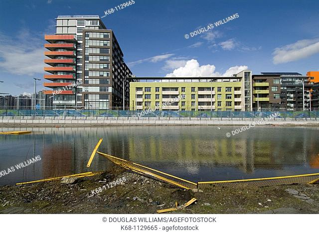 pool of water next to the Vancouver Olympic Village, False Creek, Vancouver, BC, Canada