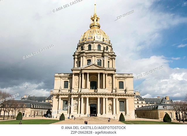 Les Invalides is a complex of museum and tomb in Paris,Napoleon's remains bury in here, on March 29, 2016 in France