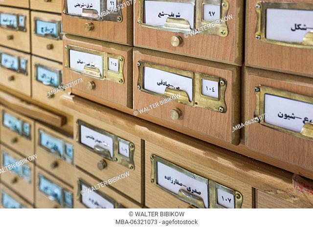 Iran, Southeastern Iran, Kerman, Kerman National Library, card catalog