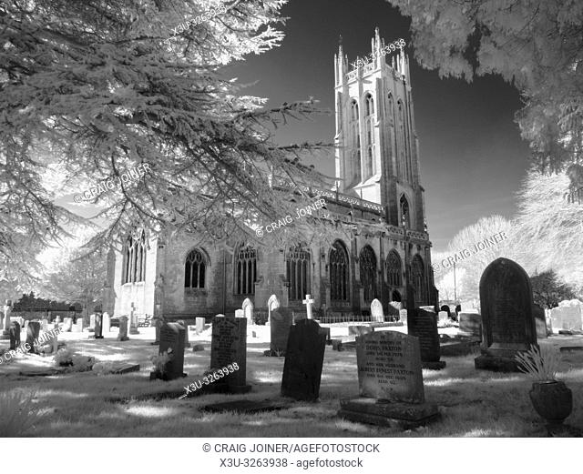 Infrared monochrome of All Saints Church in the North Somerset village of Wrington, England