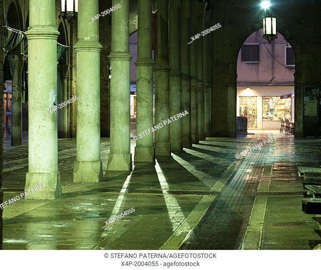Illuminated Rialto Market, Venice, Italy