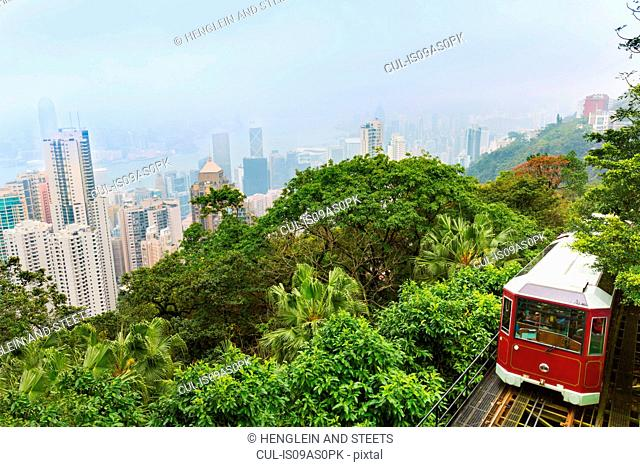 Peak tram and central Hong Kong skyline, Hong Kong, China