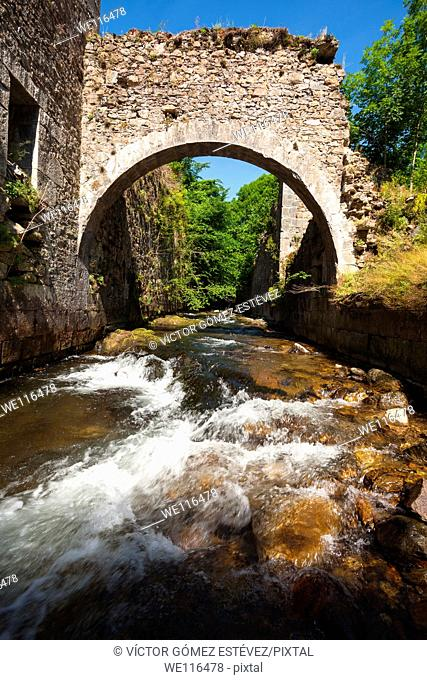 River for the remains of the arms factory Irati, Navarre, Spain