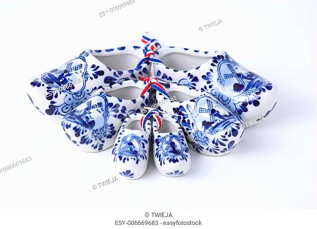 Set of Dutch porcelain clogs, traditional souvenir from Holland