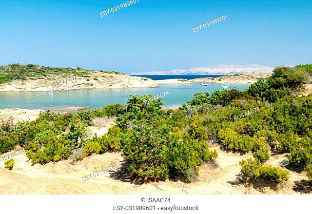 The pristine coastline and crystal clear water of the island of Rab, Croatia