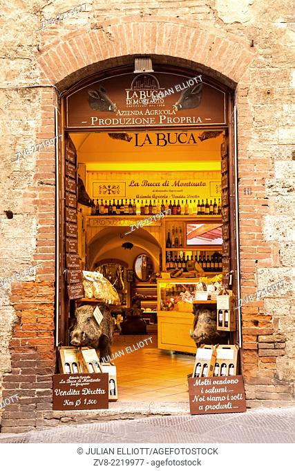 A shop selling local produce in the historic centre of San Gimignano, Tuscany