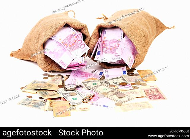 Two full sack with money. Isolated on a white background
