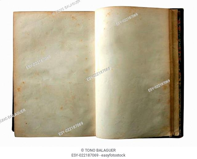 Aged old open blank copy space book