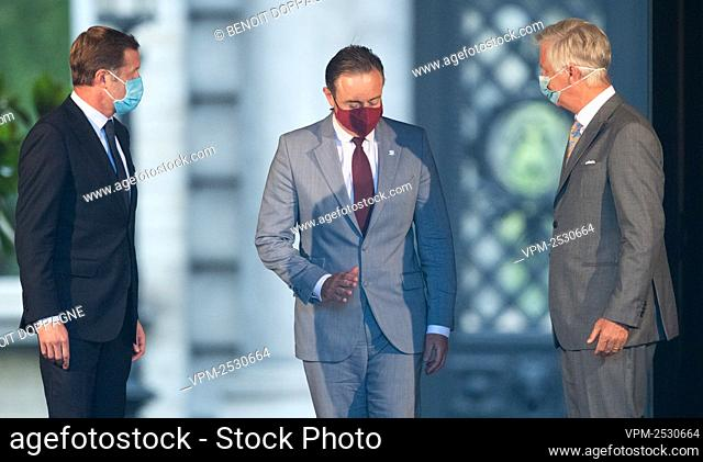 PS chairman Paul Magnette, N-VA chairman Bart De Wever and King Philippe - Filip of Belgium pictured after a meeting with the King at the Royal Palace in...