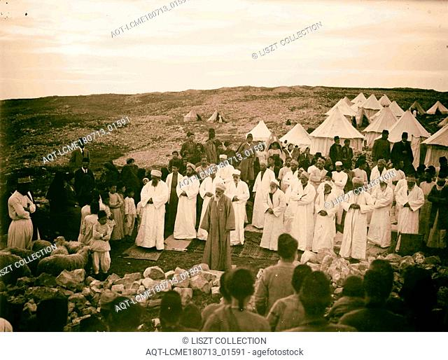 The Samaritan Passover on Mt. Gerizim High priest praying before the Samaritan assembly 1900, West Bank