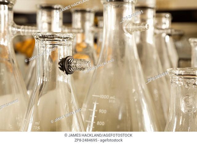 A close up photo of Büchner flasks inside a chemical labratory
