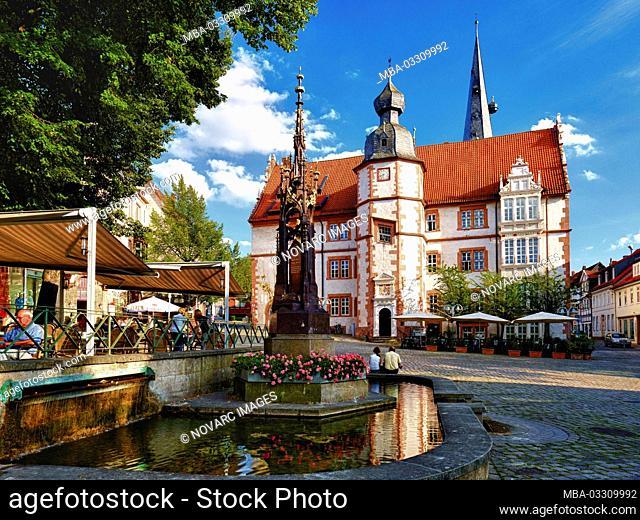 Town hall at the market in Alfeld / Leine, Hildesheim district, Lower Saxony, Germany