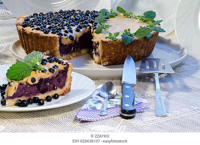 """Blueberry pie with mint and sweetened condensed milk. From series """"""""Tart with blueberry and condensed milk"""""""""""""""""""""""