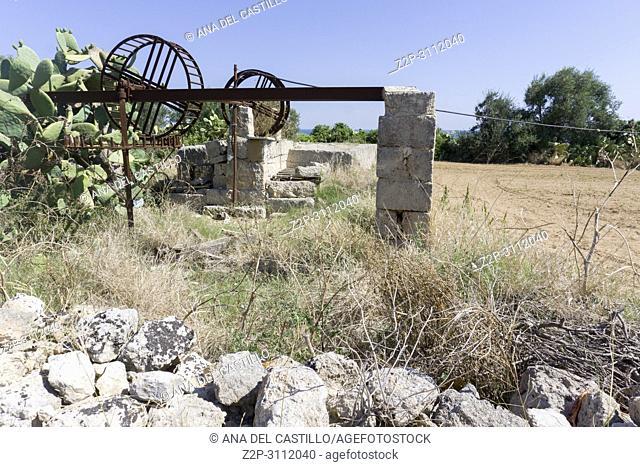 Farm in San Vito Polignano a Mare Puglia Italy on July 12, 2018. Old well
