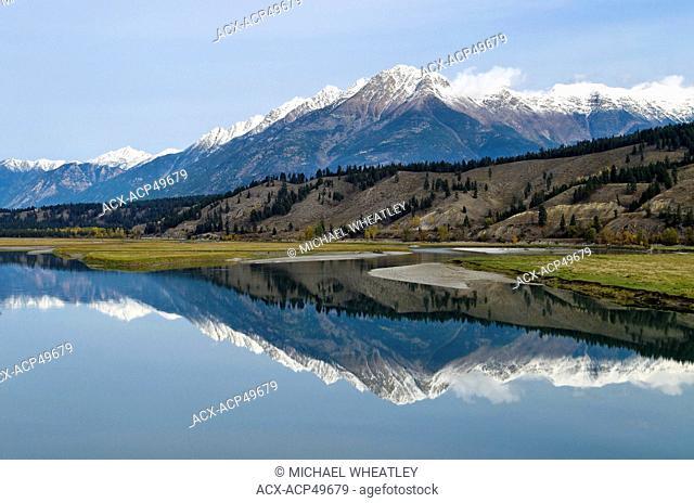 Kootenay River and Rocky Mountain vista, near Wardner, East Kootenay Region, British Columbia, Canada