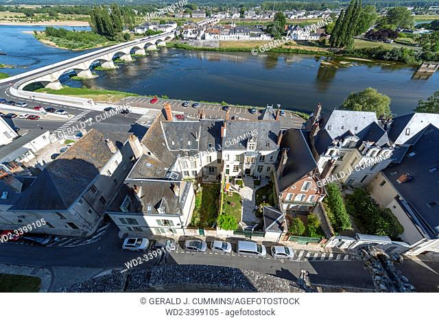 Europe France : 2019-07, View from the walls of the Royal Residence of Amboise looking down into the city and across the Loire river