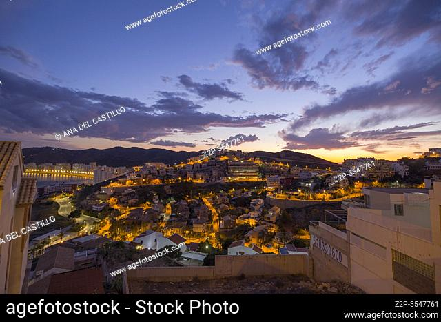 Cullera Valencia Spain on June 4, 2020: aerial view of Cullera beach view at sunset
