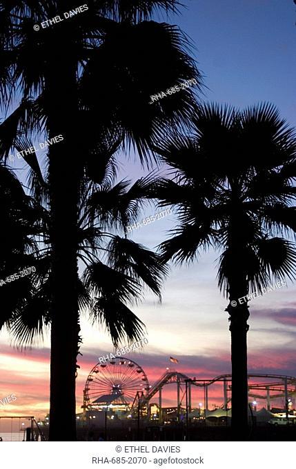 Sunset over the pier, Santa Monica Beach, Santa Monica, California, United States of America, North America