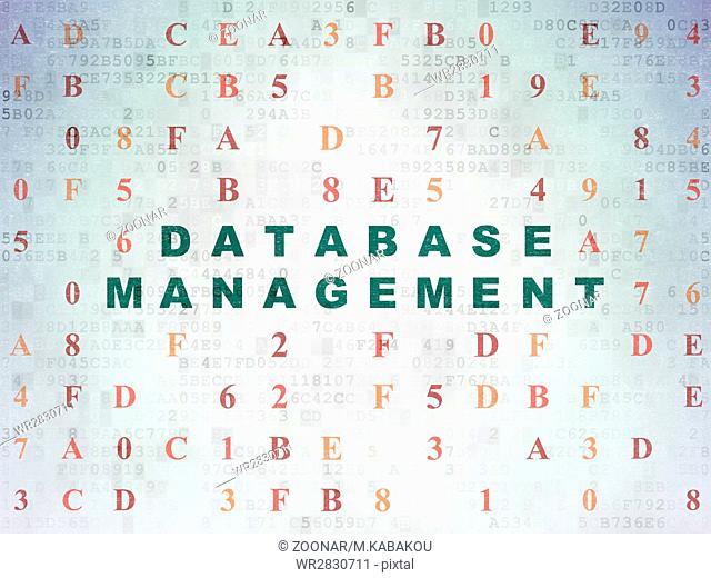 Software concept: Database Management on Digital Data Paper background