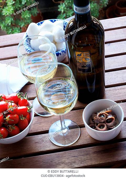 Falanghina white wine from Feudi di San Gregorio, Campania, Italy, Europe