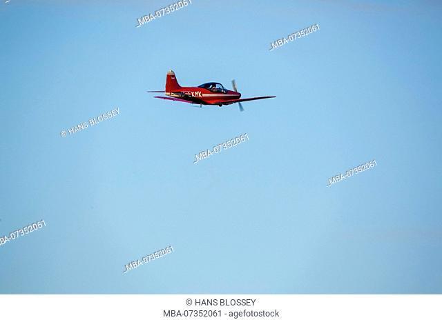 red Falco plane, wood construction, D-EKMK, General Aviation, Echo-Class passenger plane, Sport aircraft over Hamm, Hamm, Ruhr area, North Rhine-Westphalia