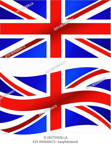 Vector illustration: British flag, includes waving version