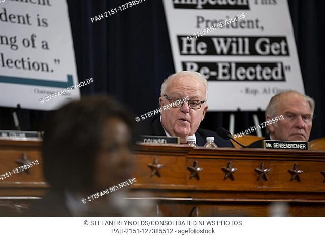 United States Representative F. James Sensenbrenner (Republican of Wisconsin) speaks during the testimony of constitutional law experts Noah Feldman