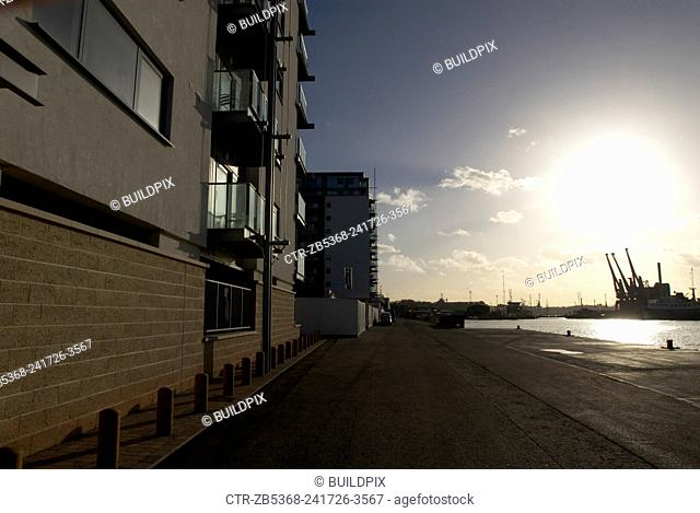 New apartments along a dis-used dock, Ipswich, UK