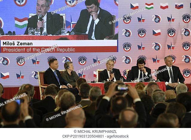From left: Andrzej Duda, Deputy Secretary General of NATO Rose Gottemoeller, Milos Zeman, Janos Ader and Andrej Kiska attend the conference Our Security Is Not...